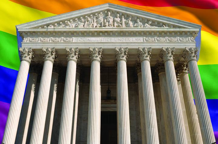 US Supreme Court with Rainbow Background